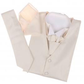 Set de cérémonie: gilet, cravate, cravalière et pochette crème à effet satiné
