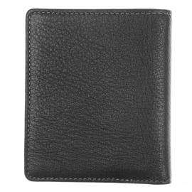 Petit portefeuille européen L'Aiglon en cuir de vachette foulonné Noir