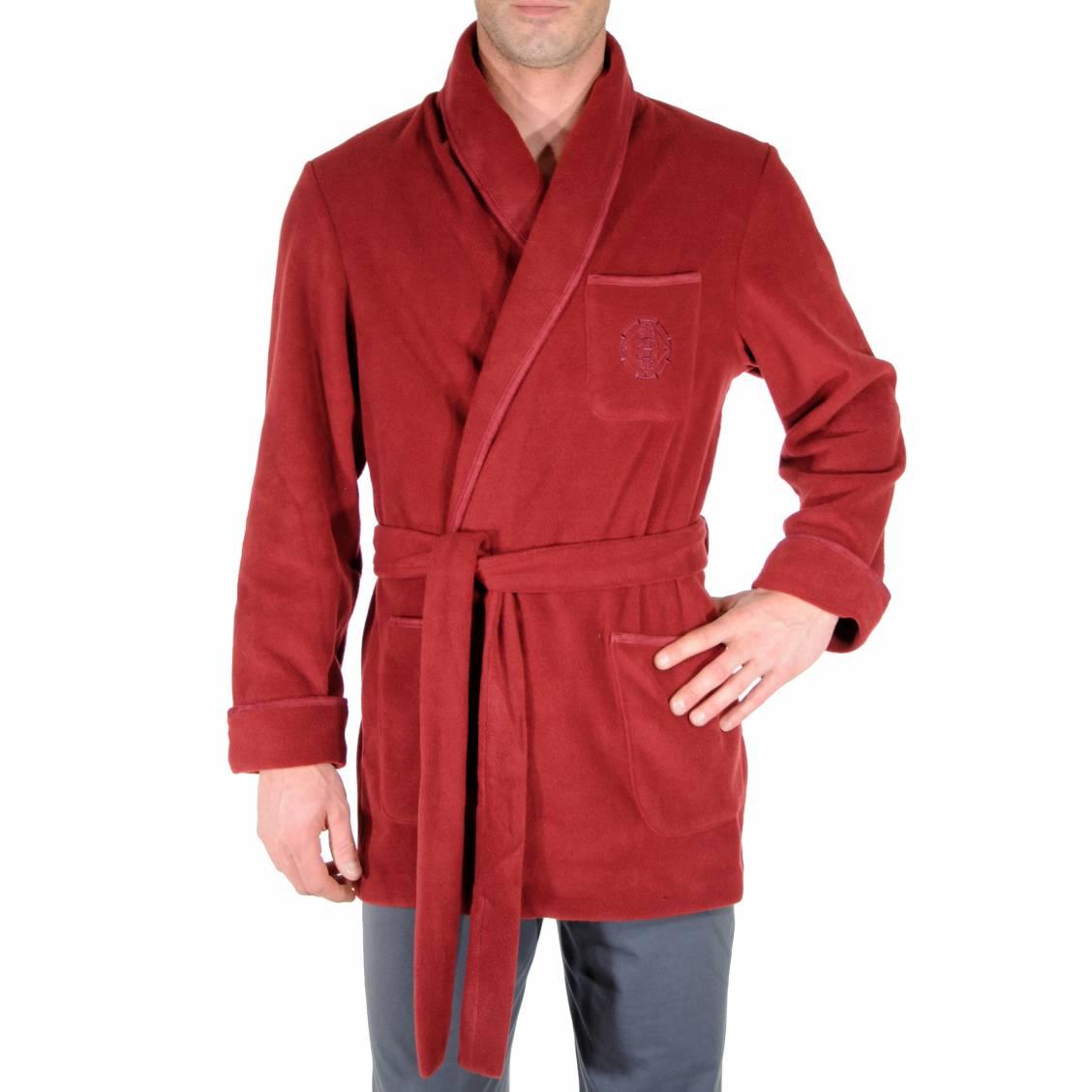 Veste d 39 interieur baikal christian cane en polaire rouge for Veste de chambre homme