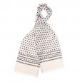 Echarpe en soie blanche à petits motifs gris clair et anthracite