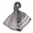 Echarpe en laine et soie Anthracite à petits motifs gris clair et jaunes