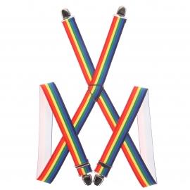 Bretelles fantaisies à rayures multicolores