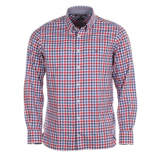 chemise homme tommy hilfiger petits carreaux rouges bleus et blancs rue des hommes. Black Bedroom Furniture Sets. Home Design Ideas