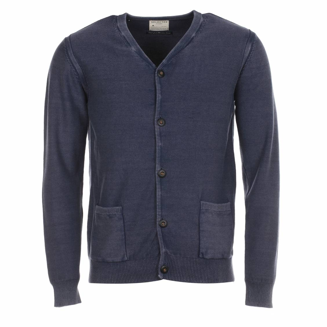 cardigan selected bleu navy