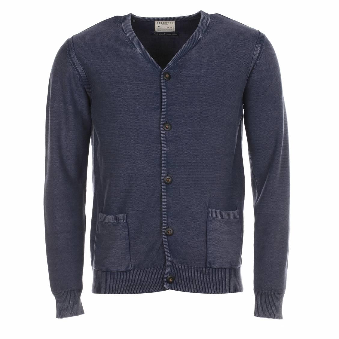 Cardigan Selected en coton bleu navy effet vintage. Cardigan homme Selected  - Coton (100%) - Bleu navy effet patiné - Fermée par 5 bout