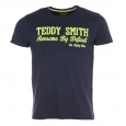 Tee-shirt Teddy Smith bleu marine estampillé Teddy Smith en velours jaune fluorescent