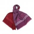 Echarpe en laine et soie violette à petits ovales roses et gris