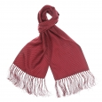 Echarpe en soie rouge à pois gris