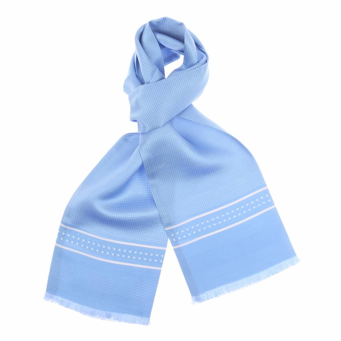Echarpe en soie bleu ciel à pois blanc