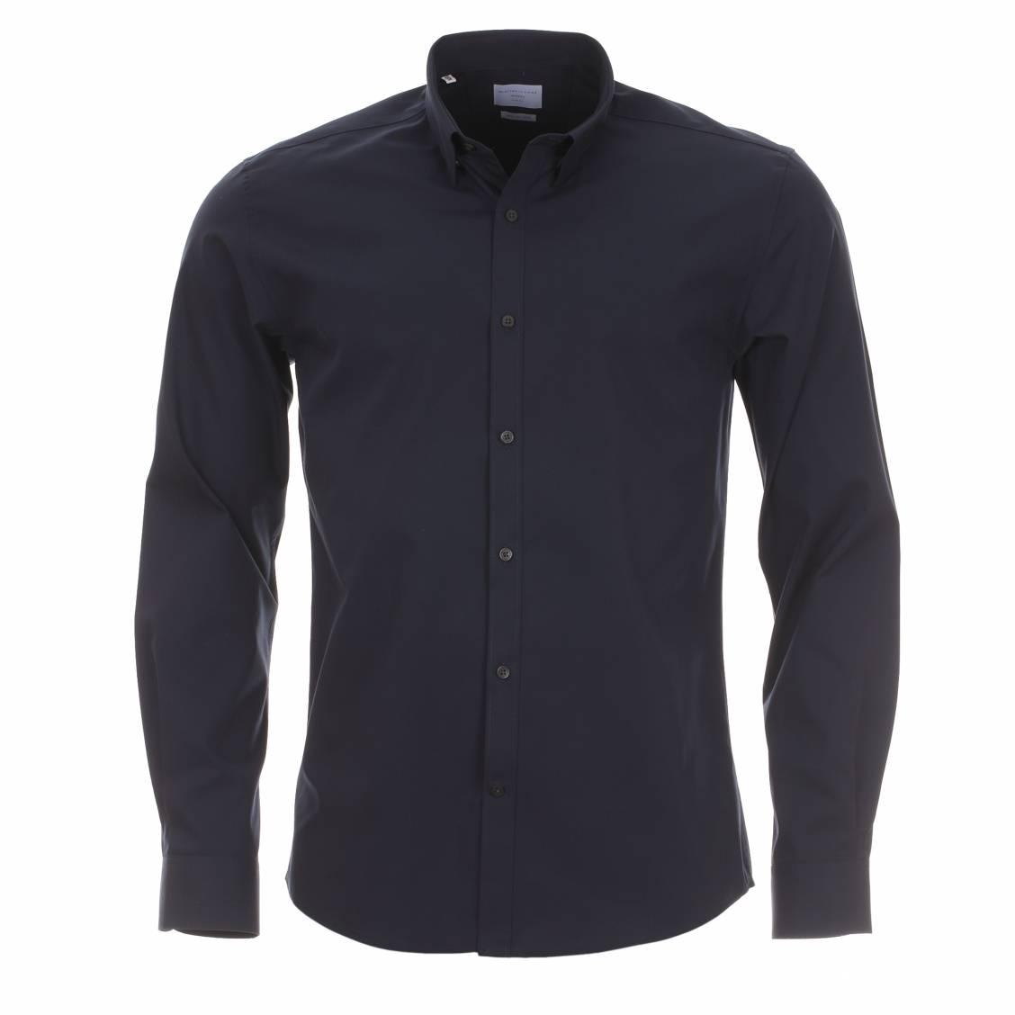 chemise homme selected bleu marine en coton stretch