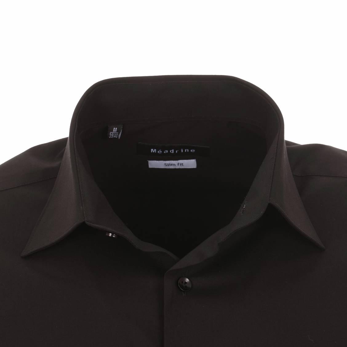 chemise cintrée noire à col italien