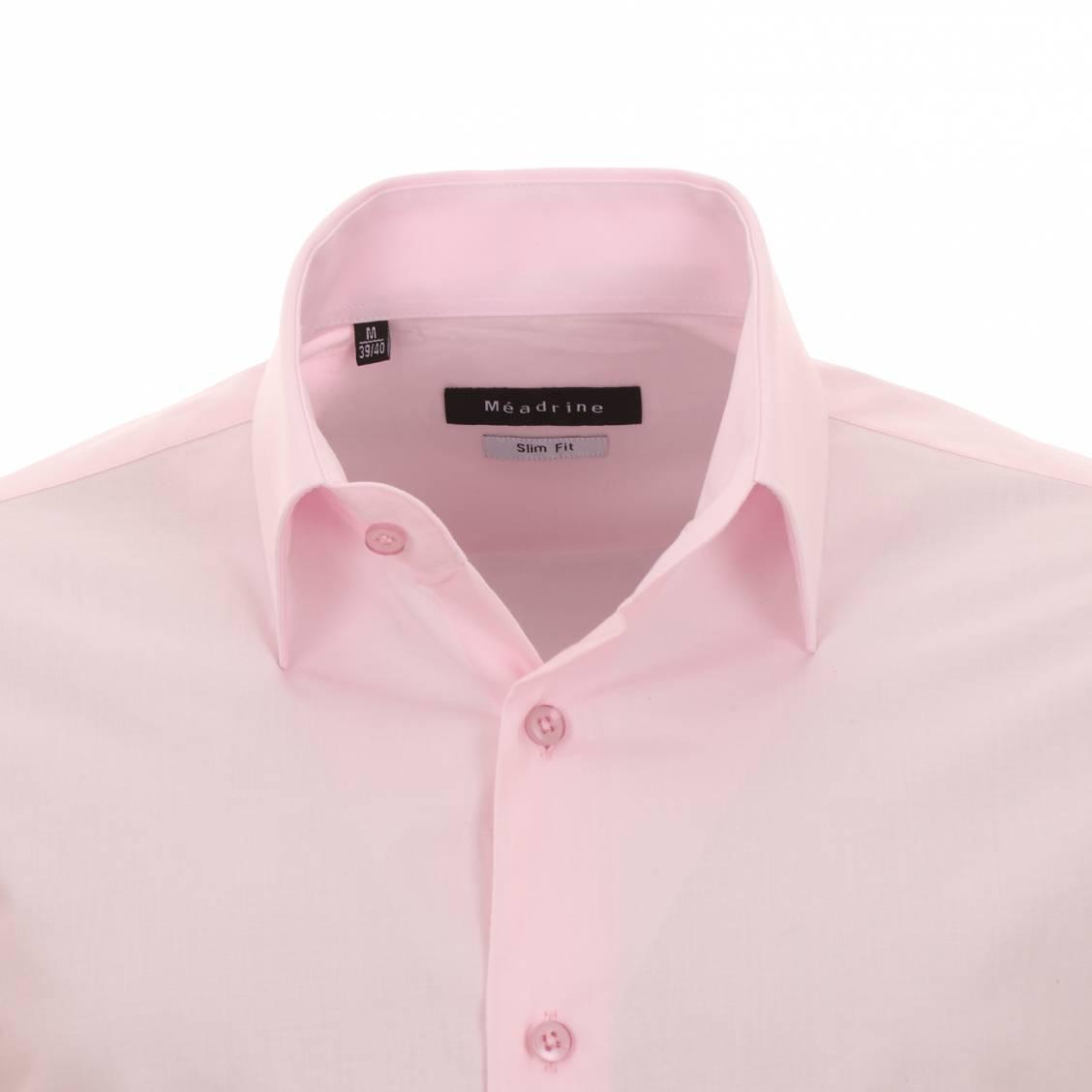chemise cintrée homme rose pâle à col simple