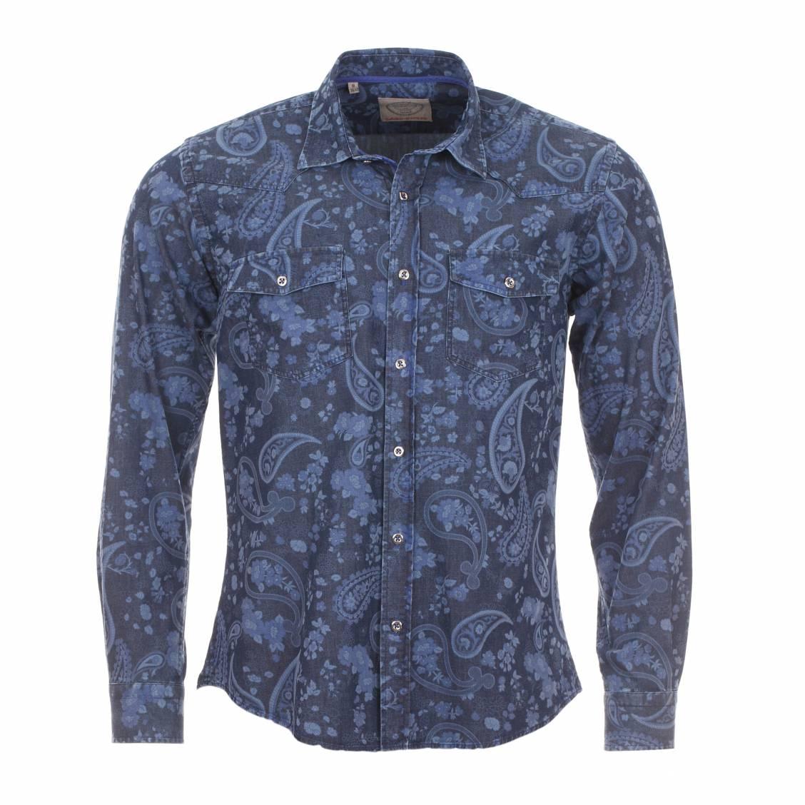 chemise homme cintr e m adrine bleu jean motifs cachemire opposition fleurs rue des hommes. Black Bedroom Furniture Sets. Home Design Ideas