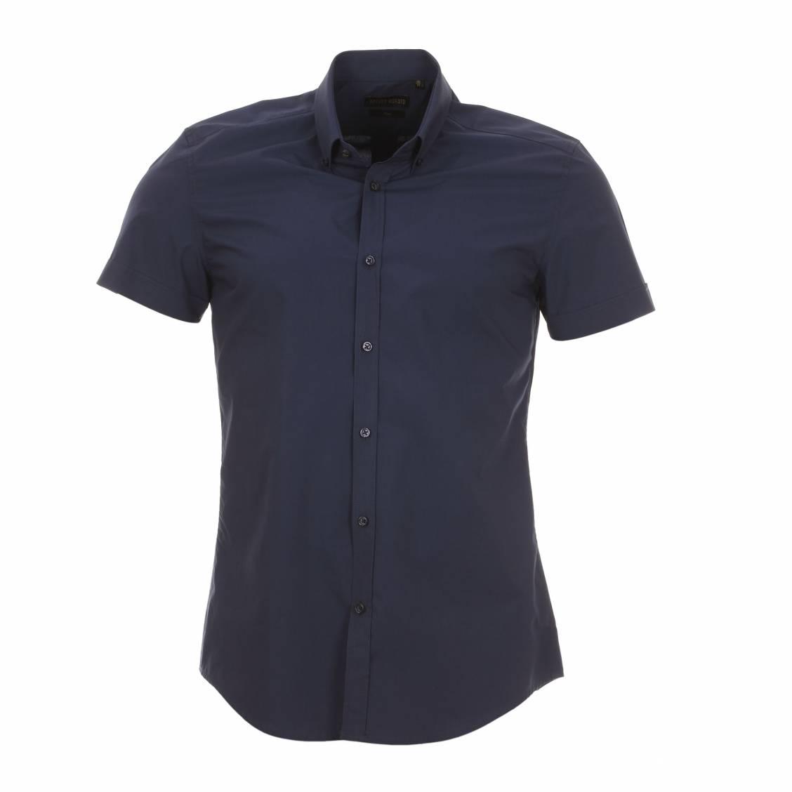 Chemise homme manches courtes  bleu marine à col américain