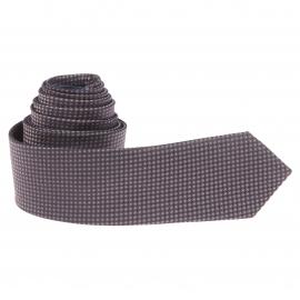 Cravate slim Bleu marine à motifs ronds bleus et marron
