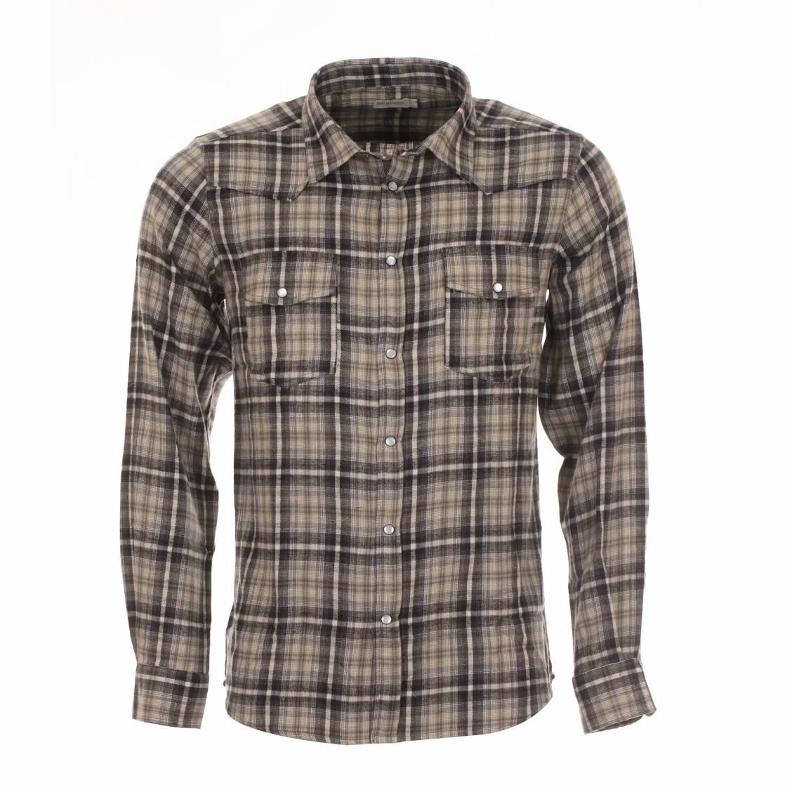 Chemise chaude  à carreaux gris, beiges et noirs
