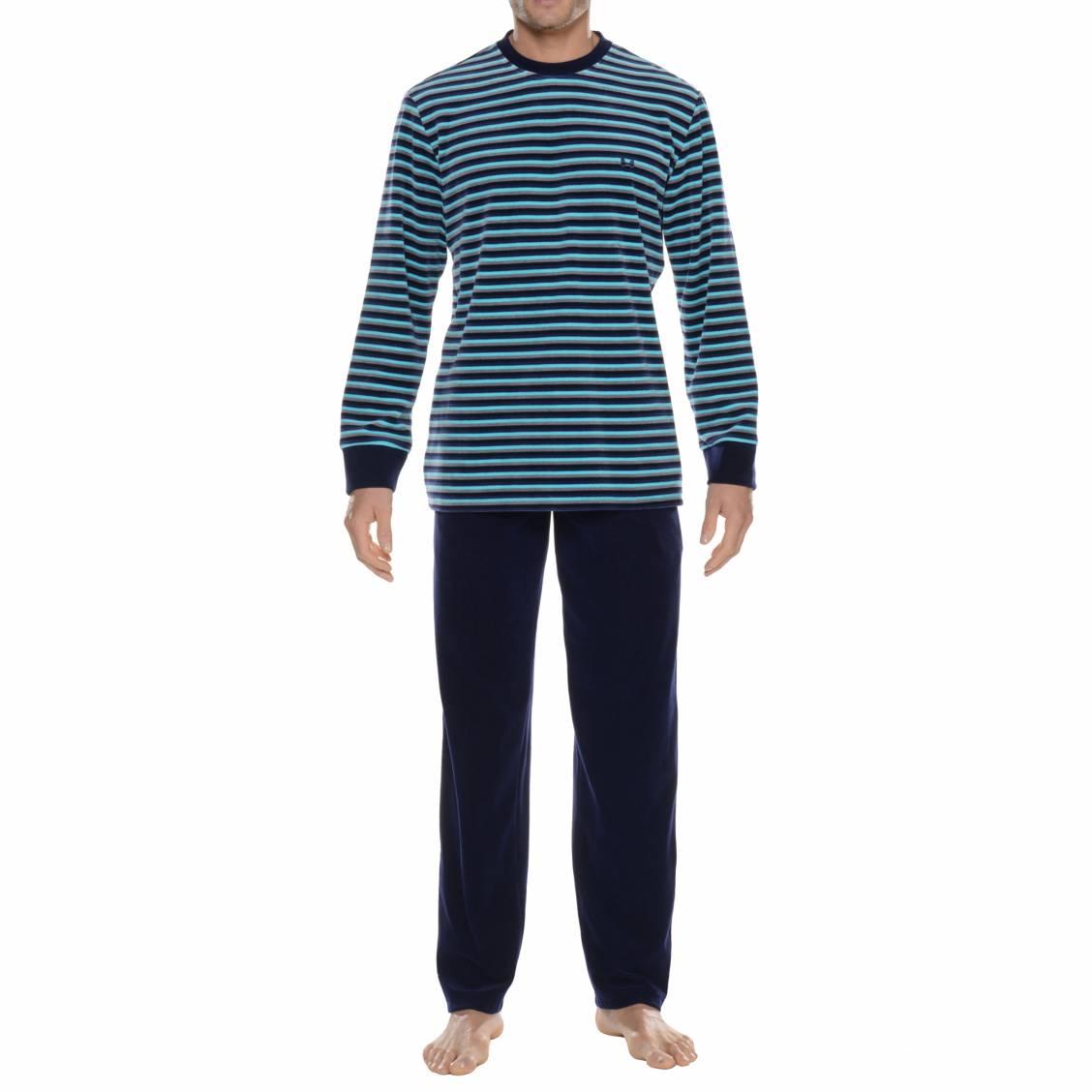 Pyjama chaud hom en velours rayures bleu marine et for Pyjama homme chaud