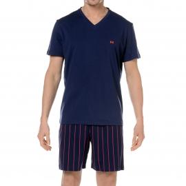 Pyjama court HOM 100% coton Bleu marine, short bleu marine à fines rayures rouges