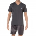 Pyjama court HOM 100% coton Gris, short gris à fines rayures blanches