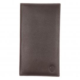 Long porte-cartes L'aiglon en cuir grainé marron