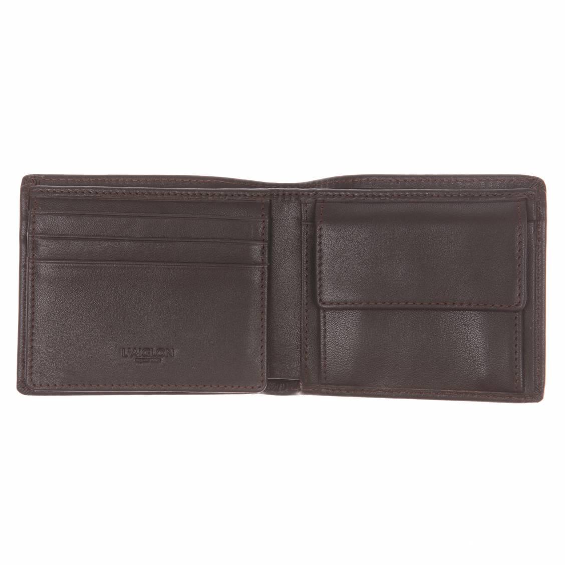petit portefeuille L'Aiglon en cuir lisse marron