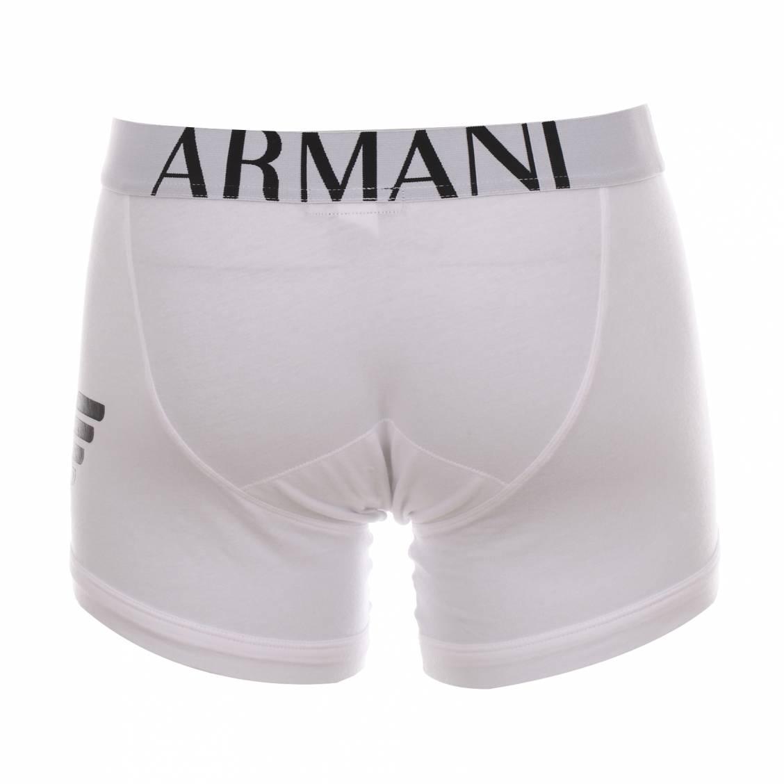 boxer long armani blanc estampillé en noir