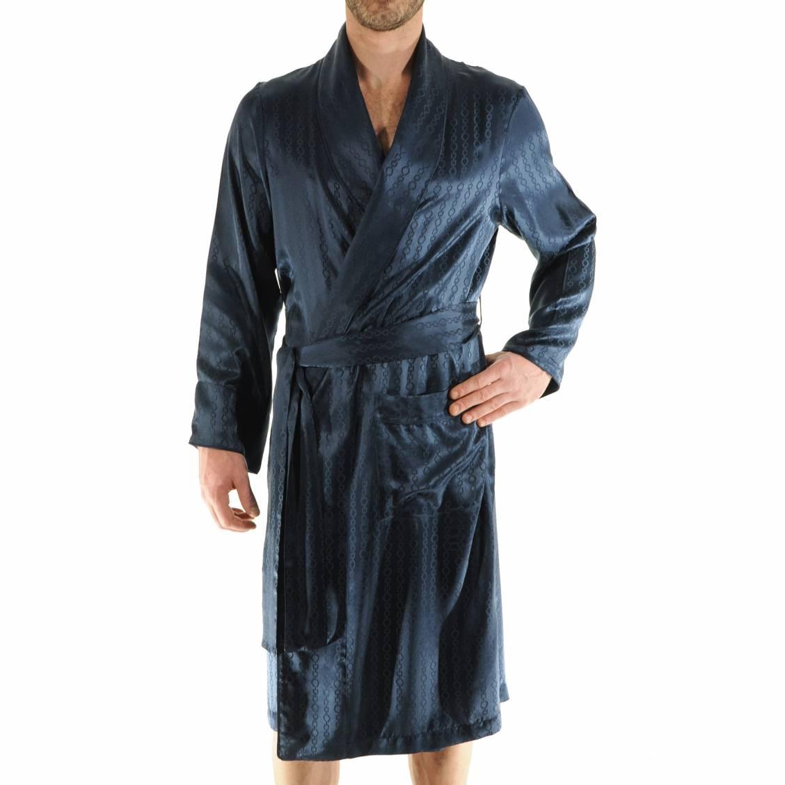 robe de chambre 100 soie pilus bleu nuit motifs ton sur ton rue des hommes. Black Bedroom Furniture Sets. Home Design Ideas