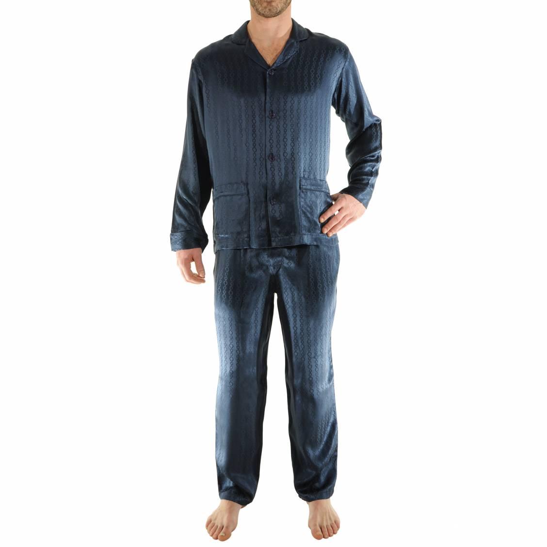pyjama Pilus 100% soie bleu nuit