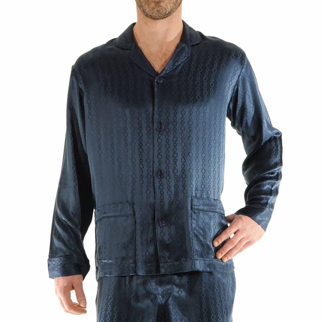 pyjama long pilus 100 soie veste boutonn e et pantalon. Black Bedroom Furniture Sets. Home Design Ideas