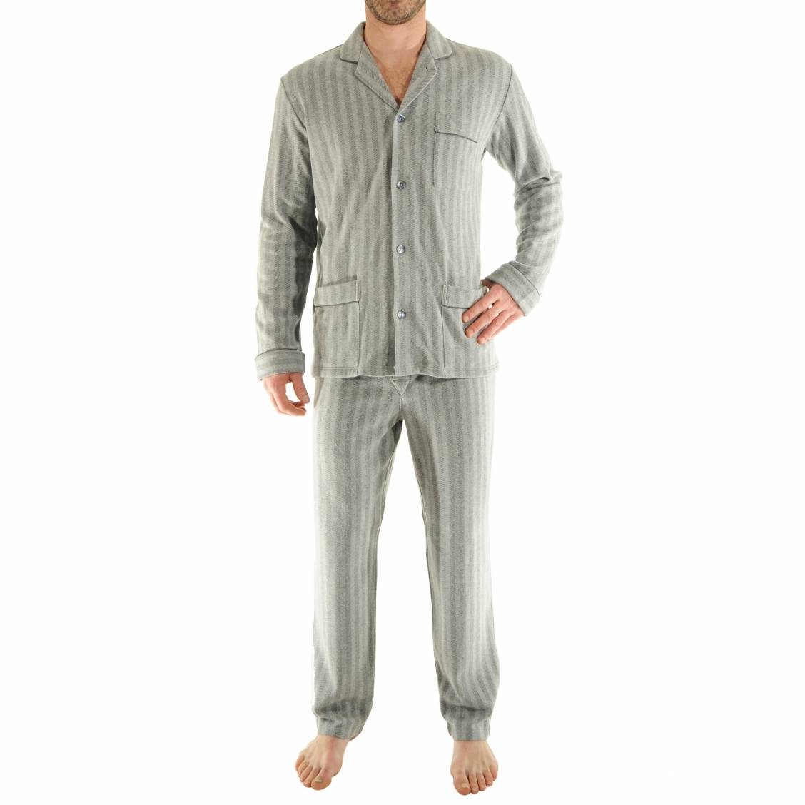Pyjama chaud pilus veste boutonn e et pantalon gris for Pyjama homme chaud