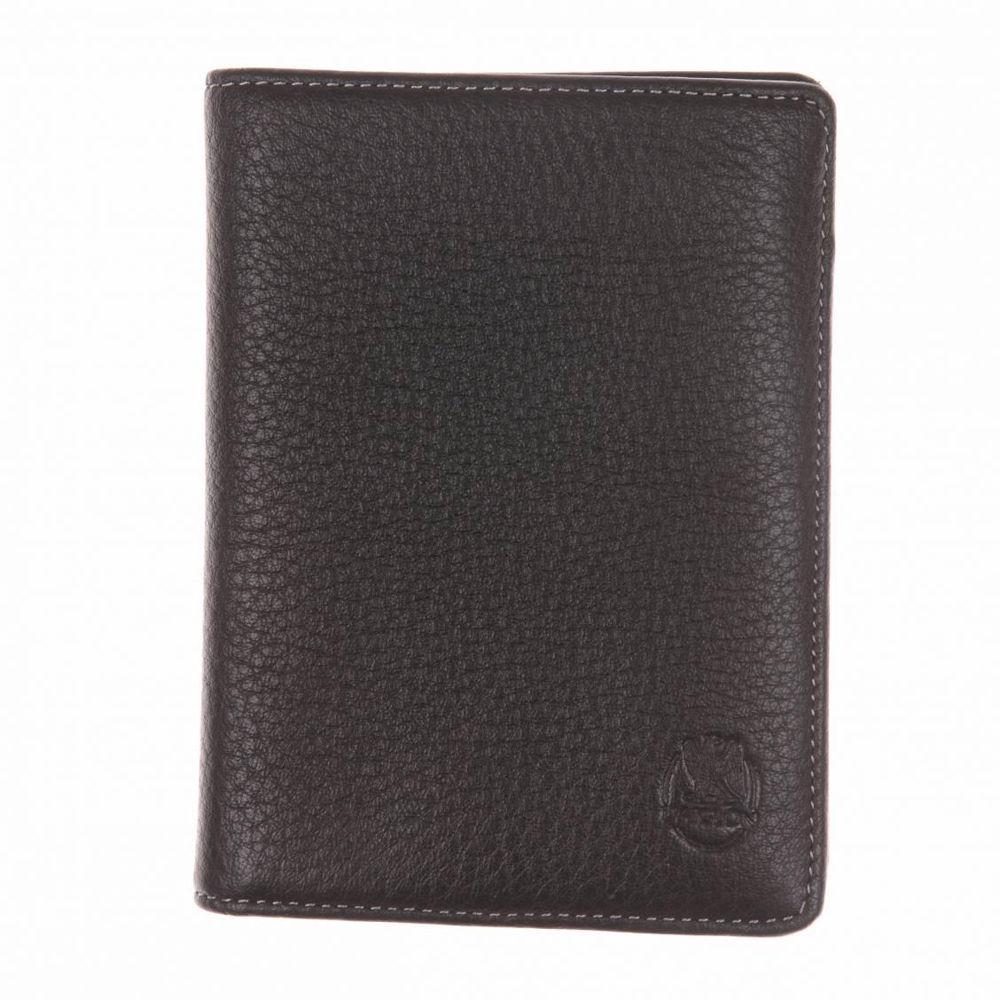 portefeuille européen en cuir noir
