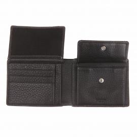 Portefeuille italien L'aiglon en cuir foulonné noir et surpiqûres blanches
