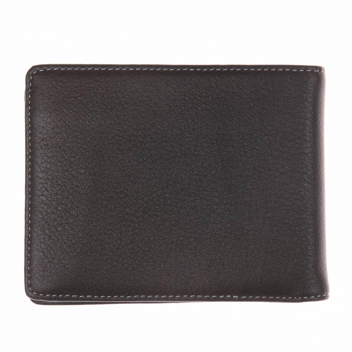 Portefeuille italien L'aiglon en cuir foulonné noir et surpiqûres blanches fpdbEyr6PE