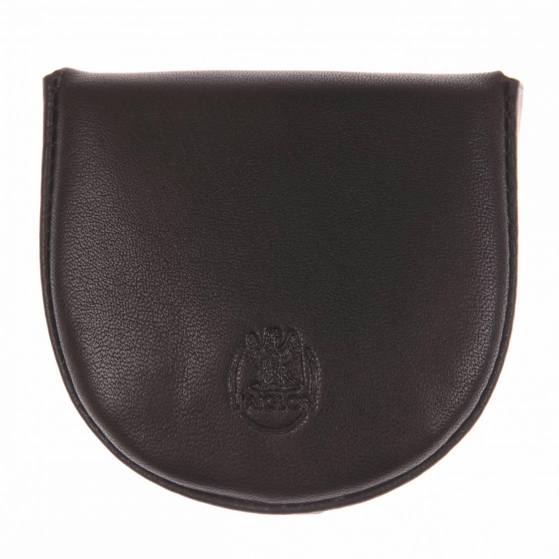 Porte-monnaie L'aiglon rond en cuir lisse noir. Cuir de veau lisse (100%)NoirLogo de la marque gravé à l'avant2 emplacementsUne ouvertur