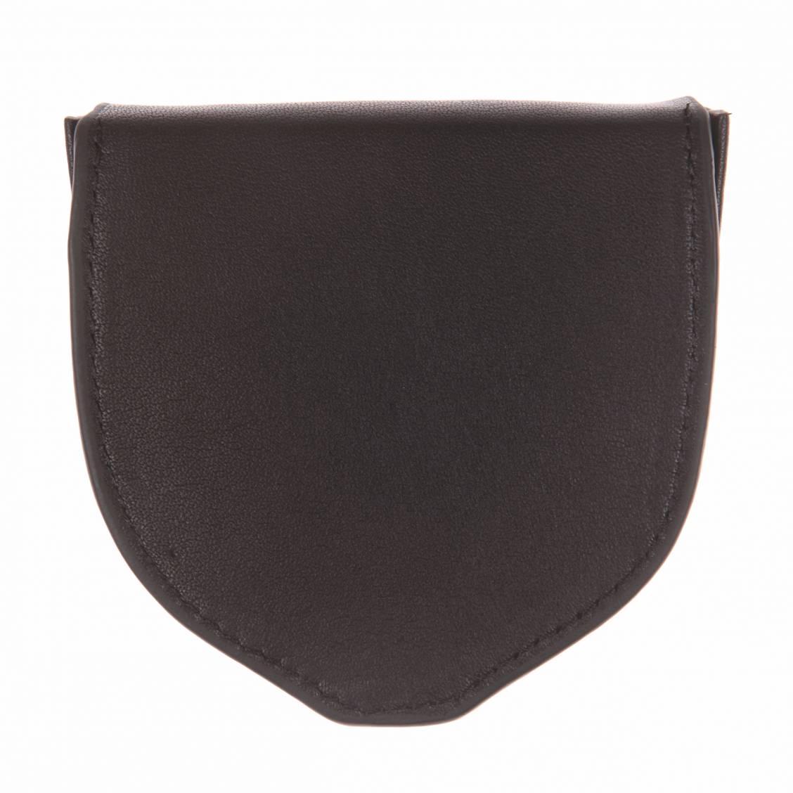 Porte-monnaie L'aiglon rond en cuir lisse noir pZriwiR6b