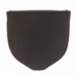 Porte-monnaie L'aiglon rond en cuir lisse noir
