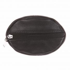 Porte-monnaie L'aiglon ovale en cuir lisse noir souple fermé par un zip recto verso