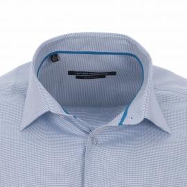 Chemise homme cintrée Gianni Ferrucci tissage natté bleu ciel et blanche