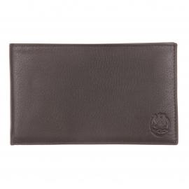Portefeuille ultra plat L'aiglon 14 cartes en cuir grainé marron