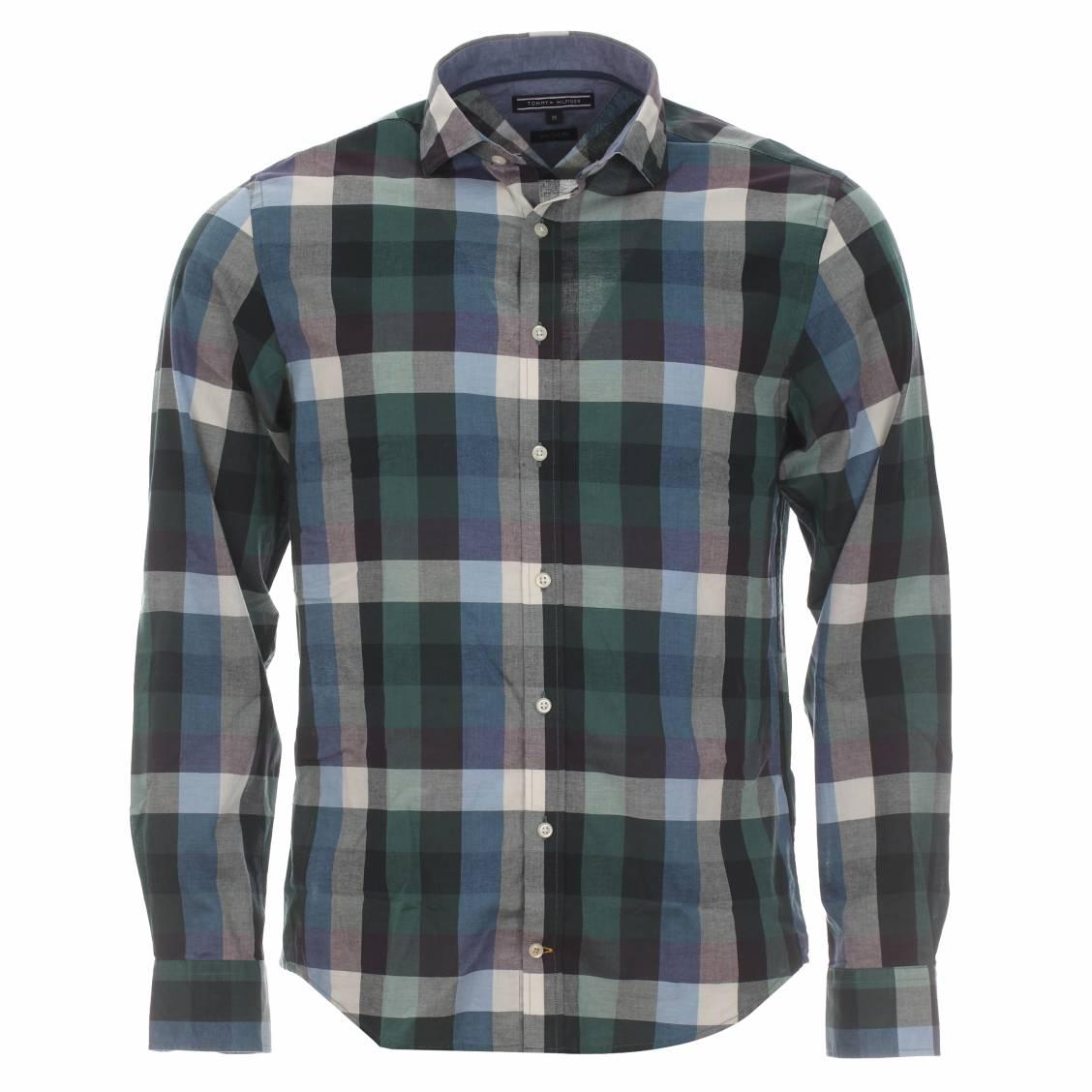 chemise homme banksi tommy hilfiger carreaux verts bleus et violets rue des hommes. Black Bedroom Furniture Sets. Home Design Ideas