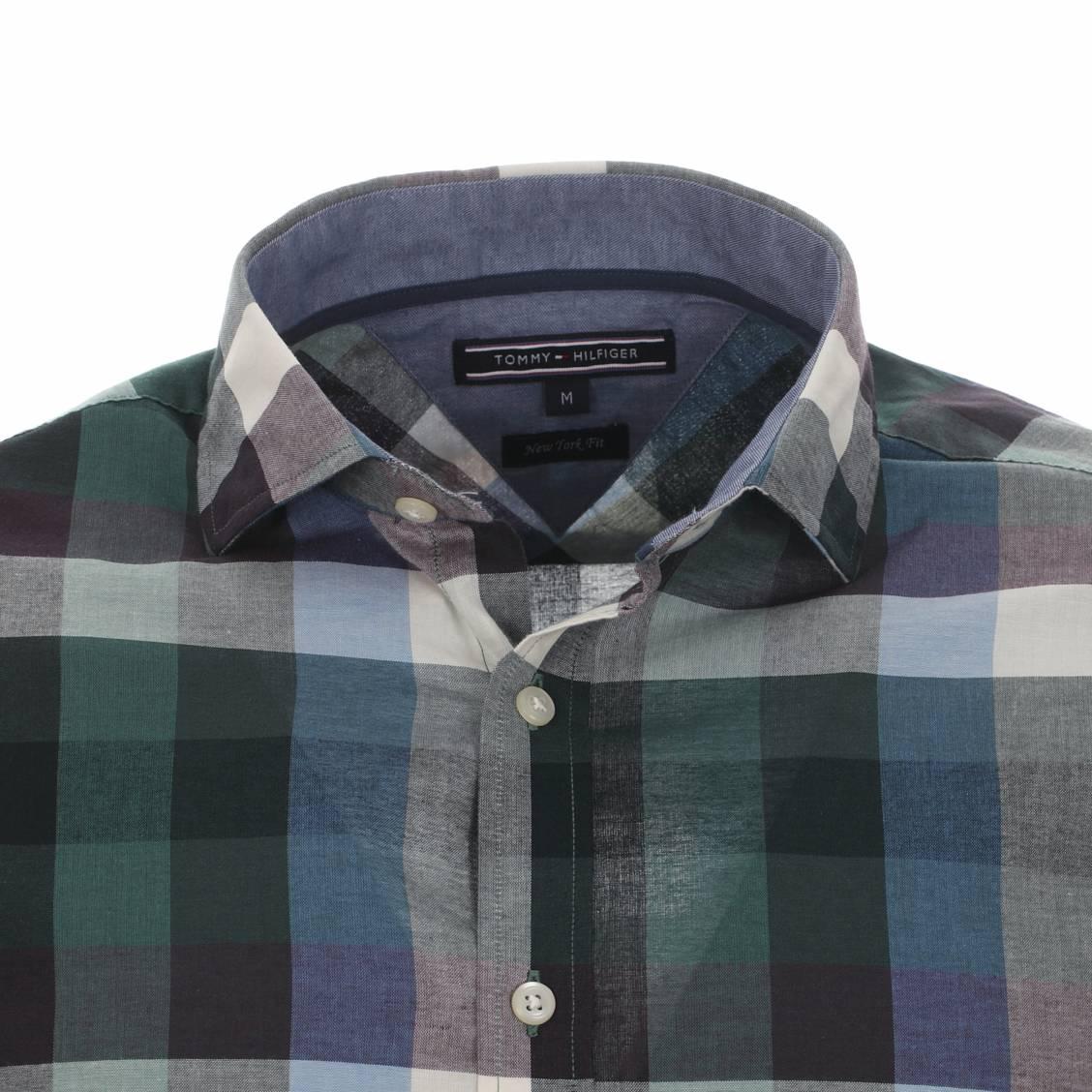 chemise tommy hilfiger à grands carreaux à petit col