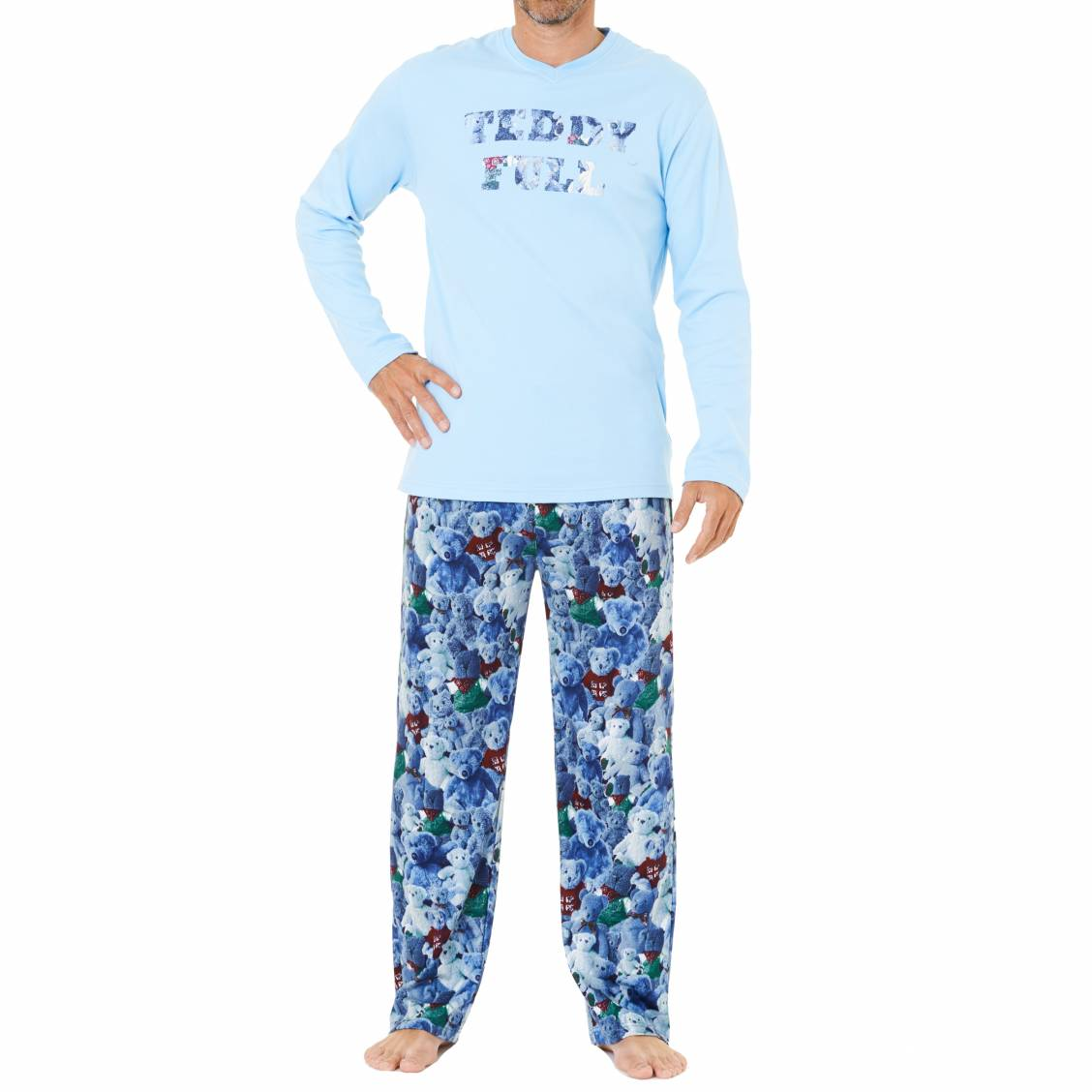 Pyjama chaud arthur tee shirt manches longues bleu ciel for Pyjama homme chaud
