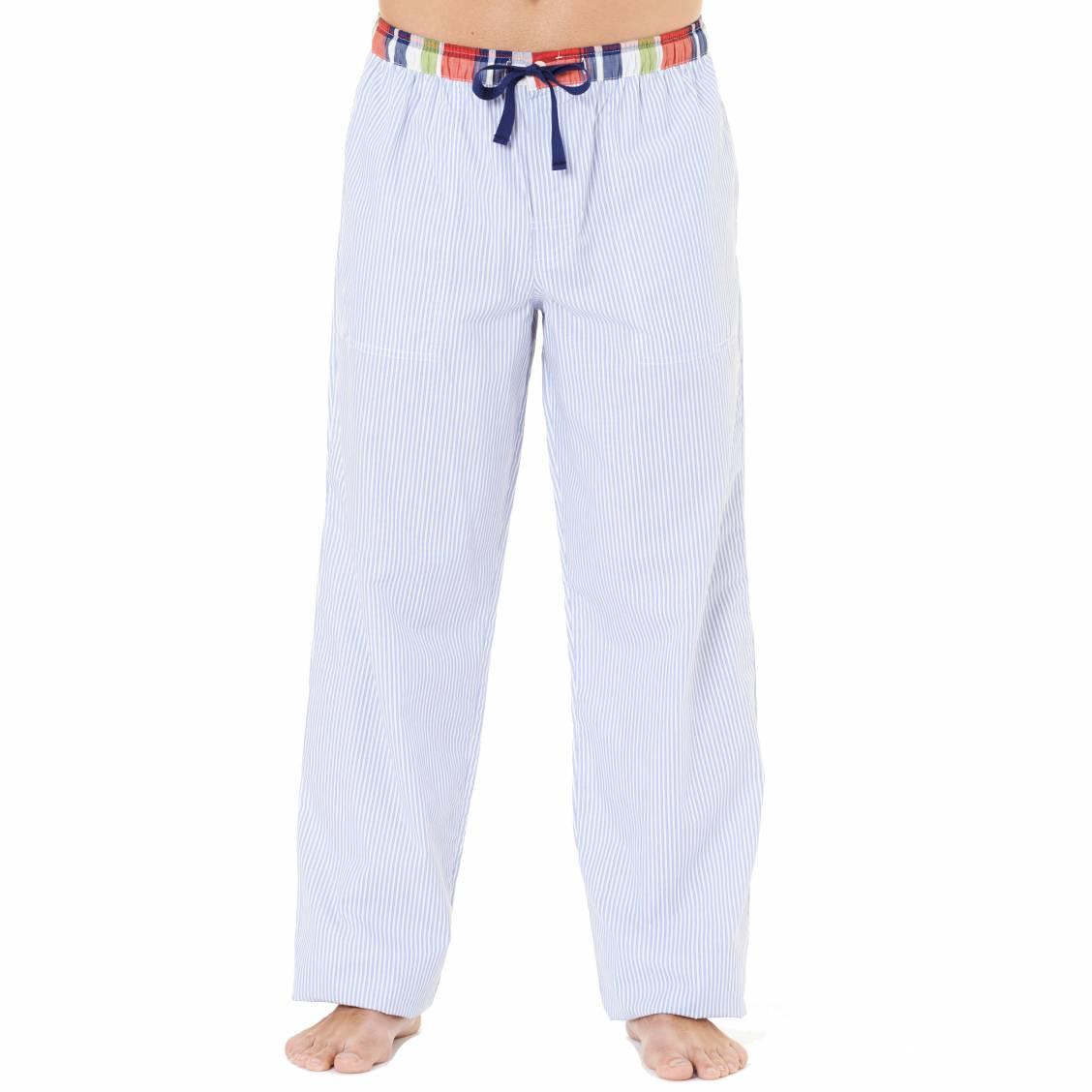 pantalon d 39 int rieur arthur 100 coton fines rayures blanches et bleu ciel ceinture. Black Bedroom Furniture Sets. Home Design Ideas