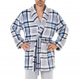 Veste d'intérieur Arthur en polaire à carreaux gris, blancs, noirs et bleus
