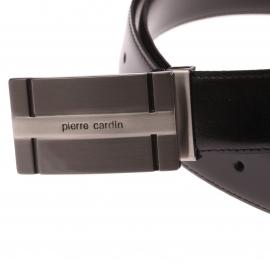 Ceinture Pierre Cardin ajustable en cuir noir à boucle poinçon pleine estampillée