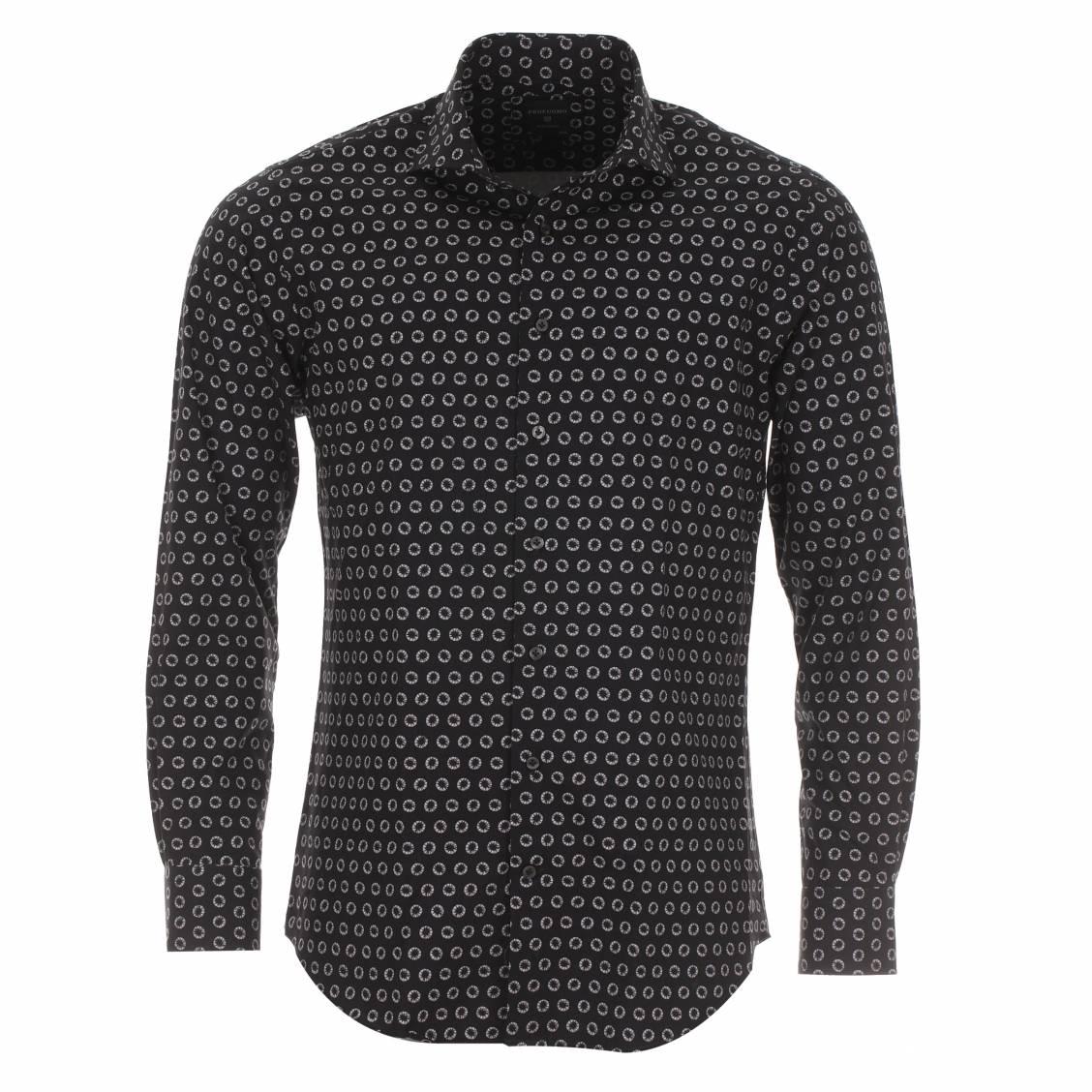 chemise cintr e profuomo sans repassage noire motifs ronds blancs rue des hommes. Black Bedroom Furniture Sets. Home Design Ideas