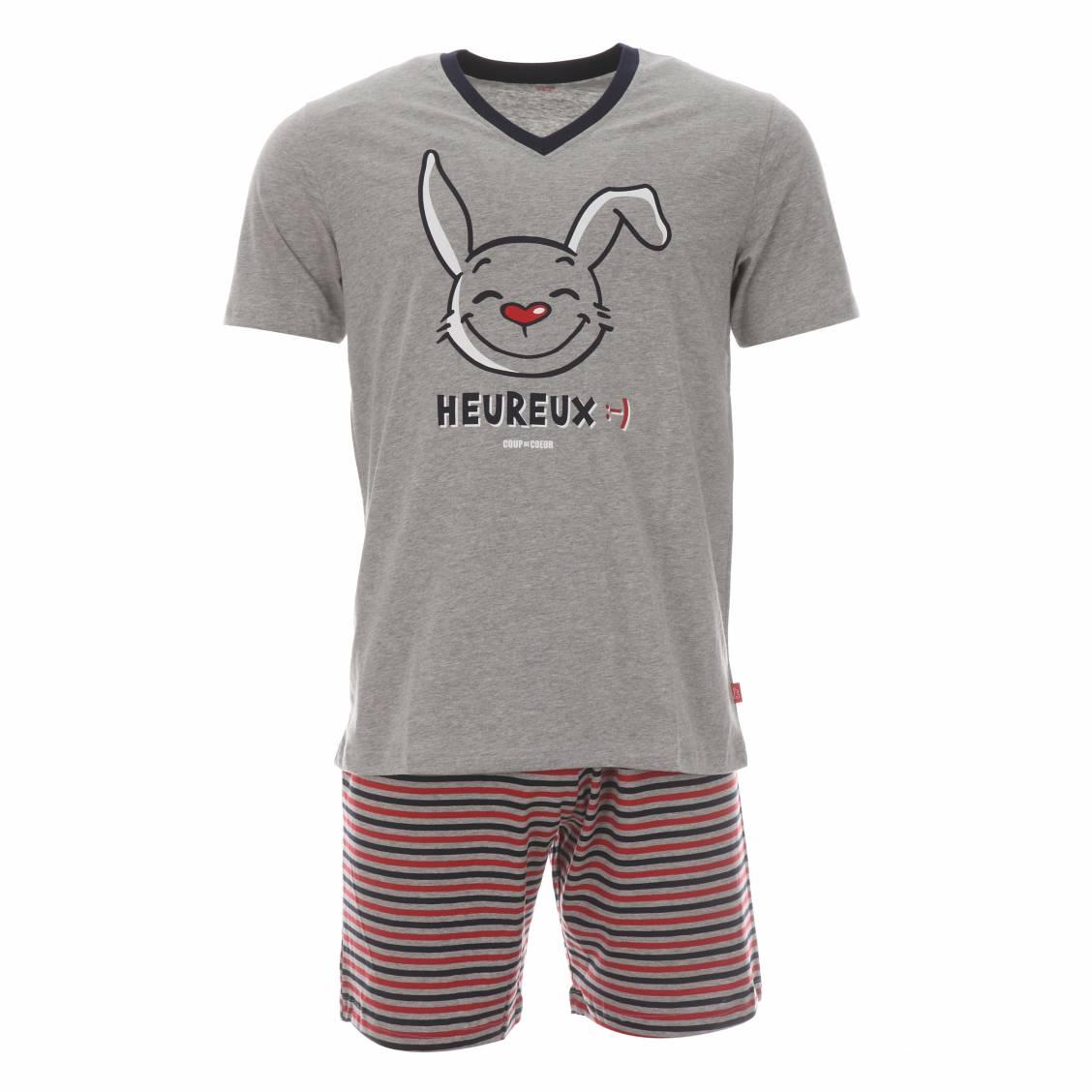 Pyjama court coup de c ur heureux tee shirt gris chin et short gris chin rayures rouges - Pyjama homme marque coup de coeur ...