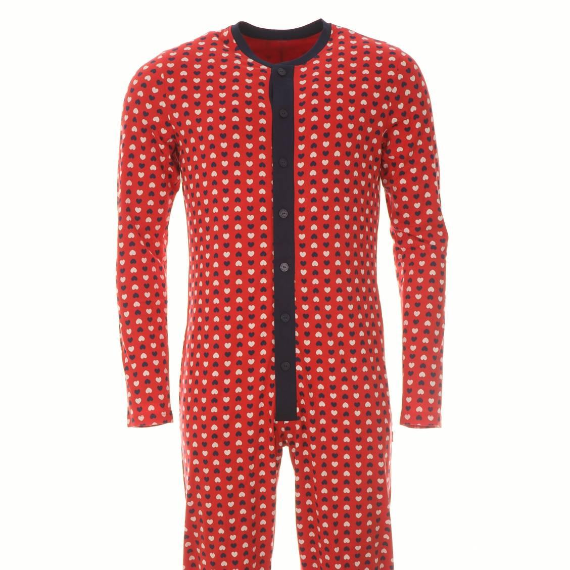 Grenouill re coup de c ur 100 coton rouge motifs c urs bleu marine et beige rue des hommes - Pyjama homme marque coup de coeur ...