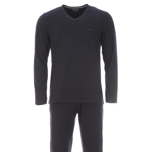 Pyjama  : tee-shirt manches longues col v bleu marine � fines rayures bleues et pantalon bleu marine