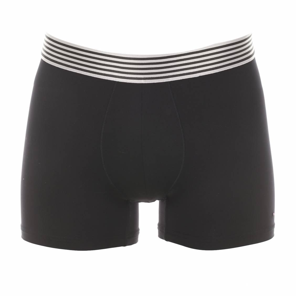Boxer  en polyamide noire à ceinture rayée grise et noire